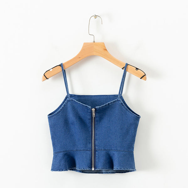 Summer Denim Ruffles Crop Tops  - Zaida Fashions