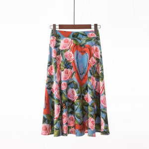 Summer Casual Floral High Waist Skirts S-2xl  - Zaida Fashions