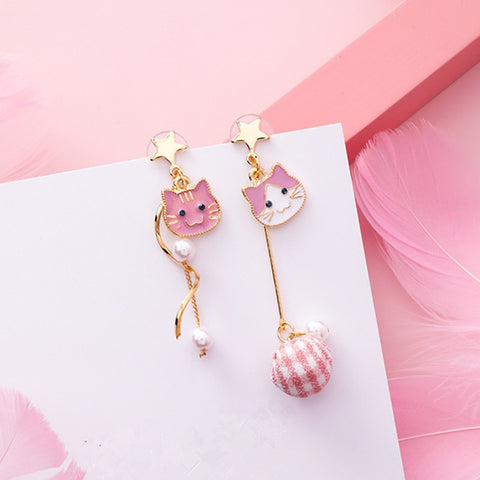 Cat Pearl Tassel Asymmetry Earrings  - Zaida Fashions