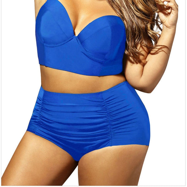 Plus Size Push Up High Waist Bikini Set  - Zaida Fashions