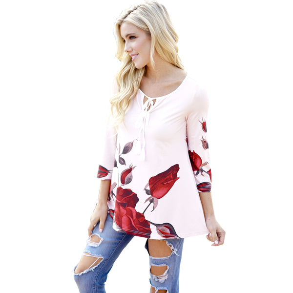 Red Rose Pink Ladies Latest Long Sleeve Tops  - Zaida Fashions