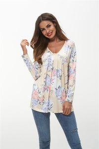 Yellow Color Floral V Neck Autumn Tops  - Zaida Fashions