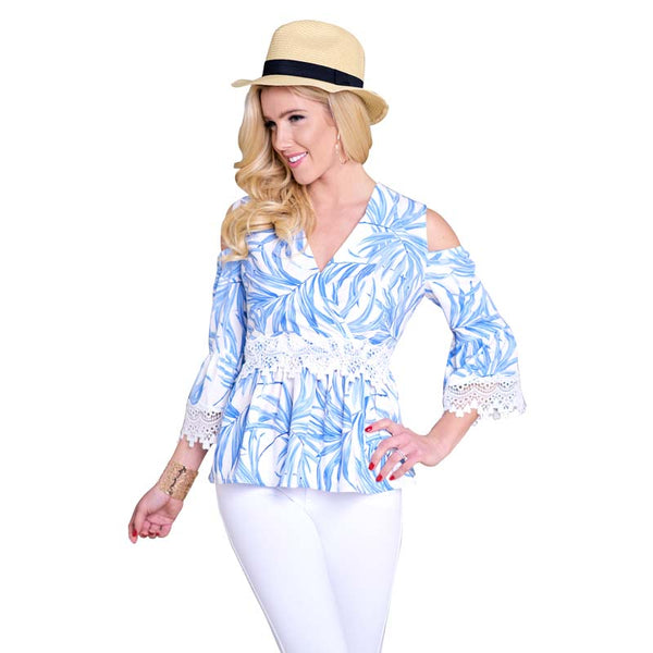 Cold Shoulder Bell Sleeve Summer Blouse for Women  - Zaida Fashions