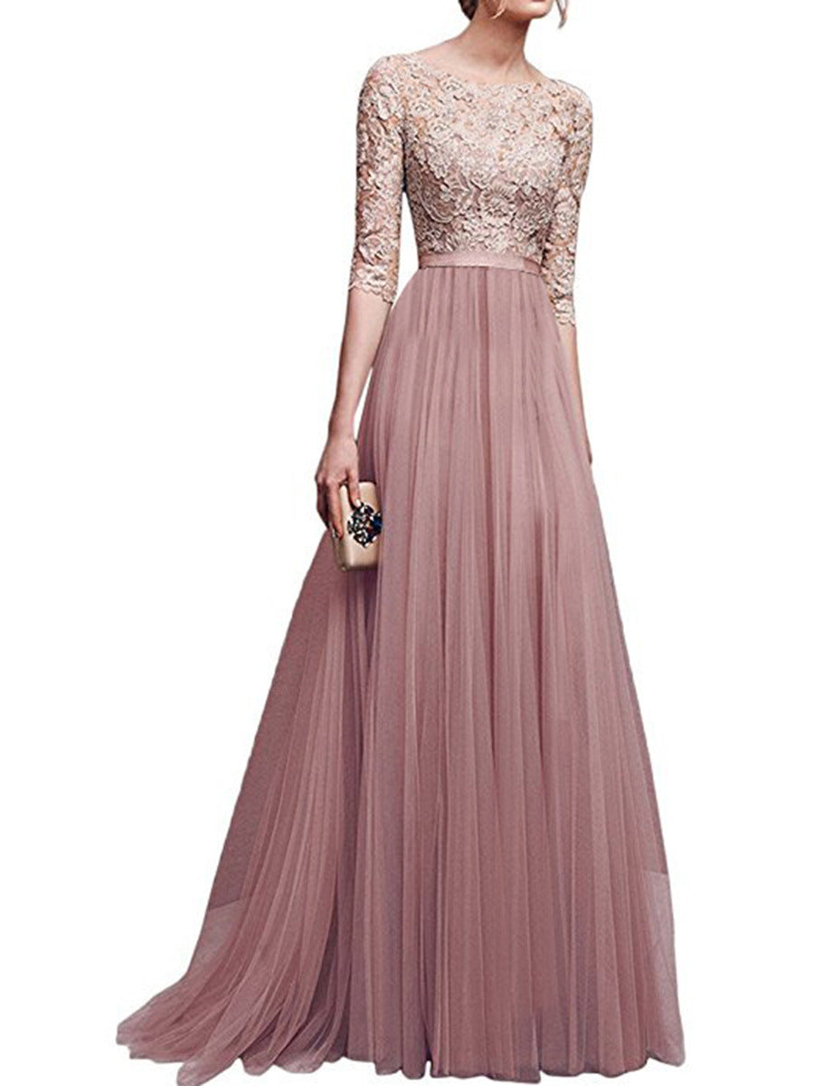 Apricot  Lace Evening Dress with 1/2 Sleeves  - Zaida Fashions