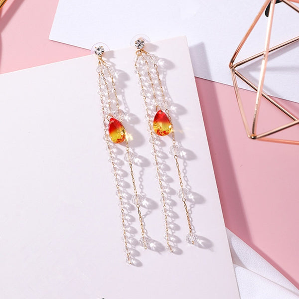 Beaded Tassel Multicolor Crystal Pendant Earrings for Women  - Zaida Fashions