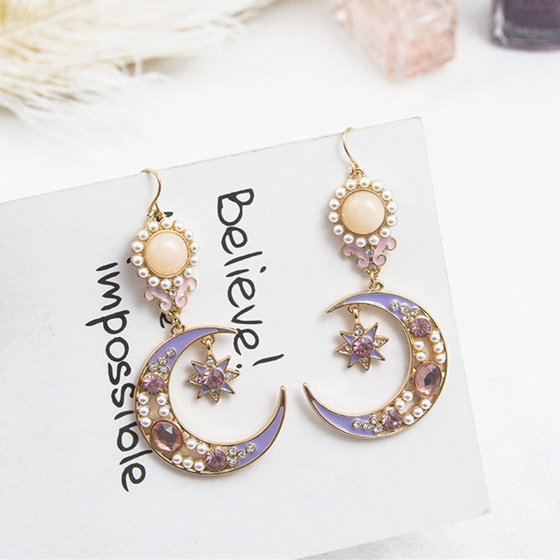 Pearl Rhinestone Star Moon Drop Earrings  - Zaida Fashions