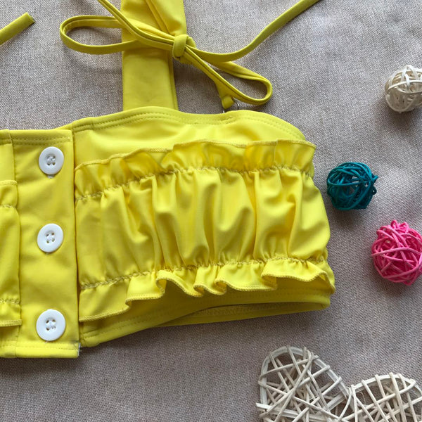 Two-Piece Ruffles Yellow Bikini  - Zaida Fashions