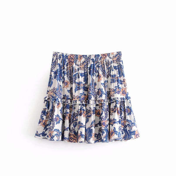 Boho Summer Floral Mini Ruffles Beach Skirts  - Zaida Fashions