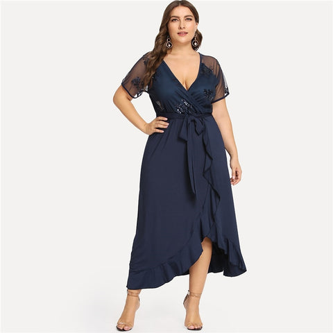 Plus Size Navy Blue  Deep V Neck Ruffle Sequin Mesh Wrap Maxi Dress  - Zaida Fashions