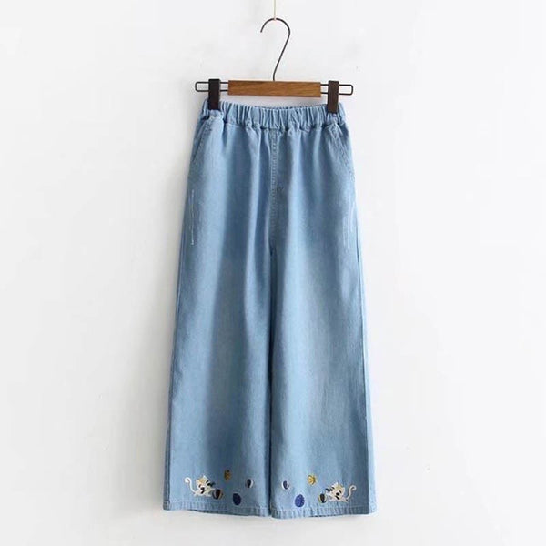 Embroidered Cat Denim Trousers  - Zaida Fashions