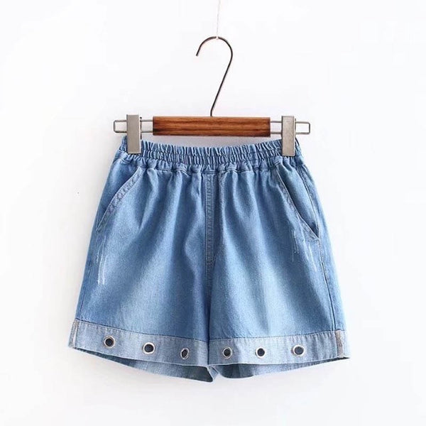 Elastic Waist Denim Shorts  - Zaida Fashions