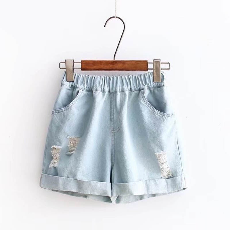 Elastic Waist Denim Short Pants  - Zaida Fashions