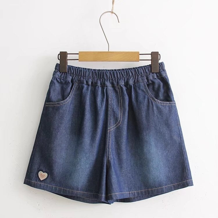 Embroidered Elastic Waist Denim Shorts  - Zaida Fashions