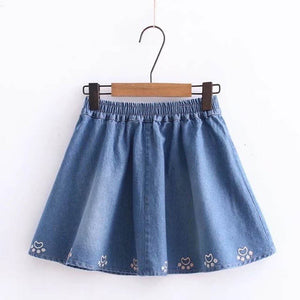 Summer Embroidered Elastic Waist Denim Mini Skirts  - Zaida Fashions