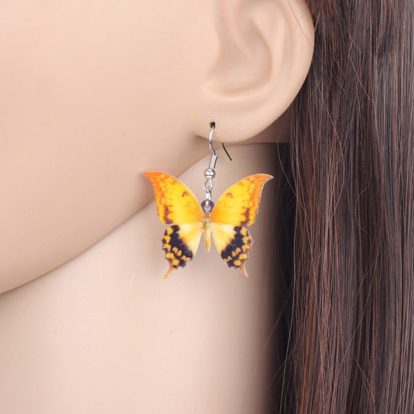 Yellow Spot Butterfly Earrings  - Zaida Fashions