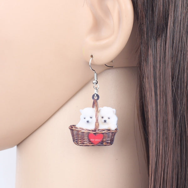 Cute Pomeranian Dog Earrings  - Zaida Fashions