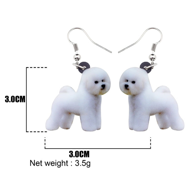 Bichon Frise Dog Earrings  - Zaida Fashions