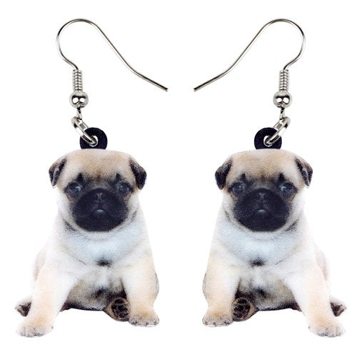Pug Dog Puppy Earrings  - Zaida Fashions