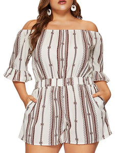 Plus Size Off The Shoulder Casual Jumpsuits  - Zaida Fashions