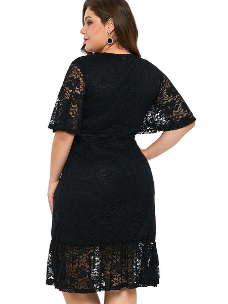 Plus Size Ruffle Black Lace Dress 2XL - 4XL  - Zaida Fashions