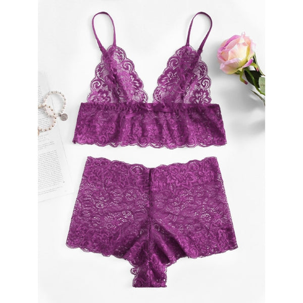 Floral Lace Bra Brief Sets  - Zaida Fashions