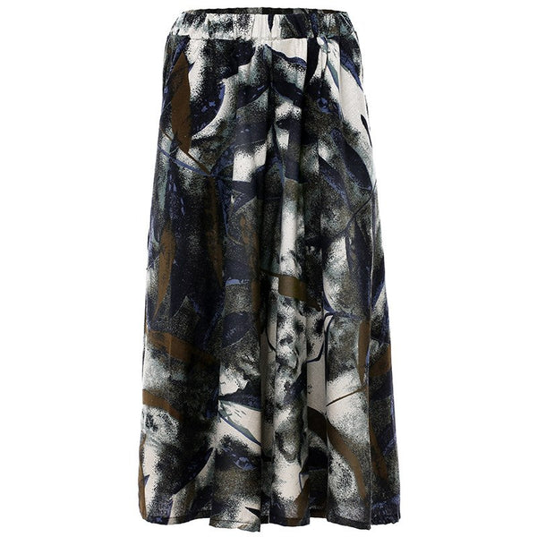 Stylish Floral Print Pleated Casual Skirts  - Zaida Fashions