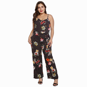 Summer Stripe Floral Plus Size Jumpsuits  - Zaida Fashions
