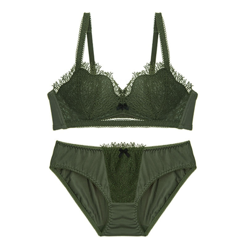 Lace Embroidered Push Up Bra Set  - Zaida Fashions