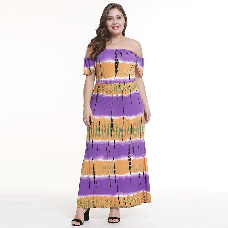 Plus Size Square Neck African Print Draped Off Shoulder Dress S to ...