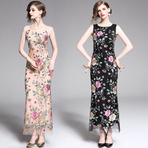 Sleeveless Bodycon Embroidery Maxi Dress S - XXL  - Zaida Fashions