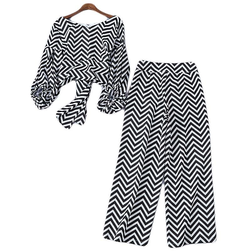 Black White Puff Sleeve Short Top + Pants Set  - Zaida Fashions
