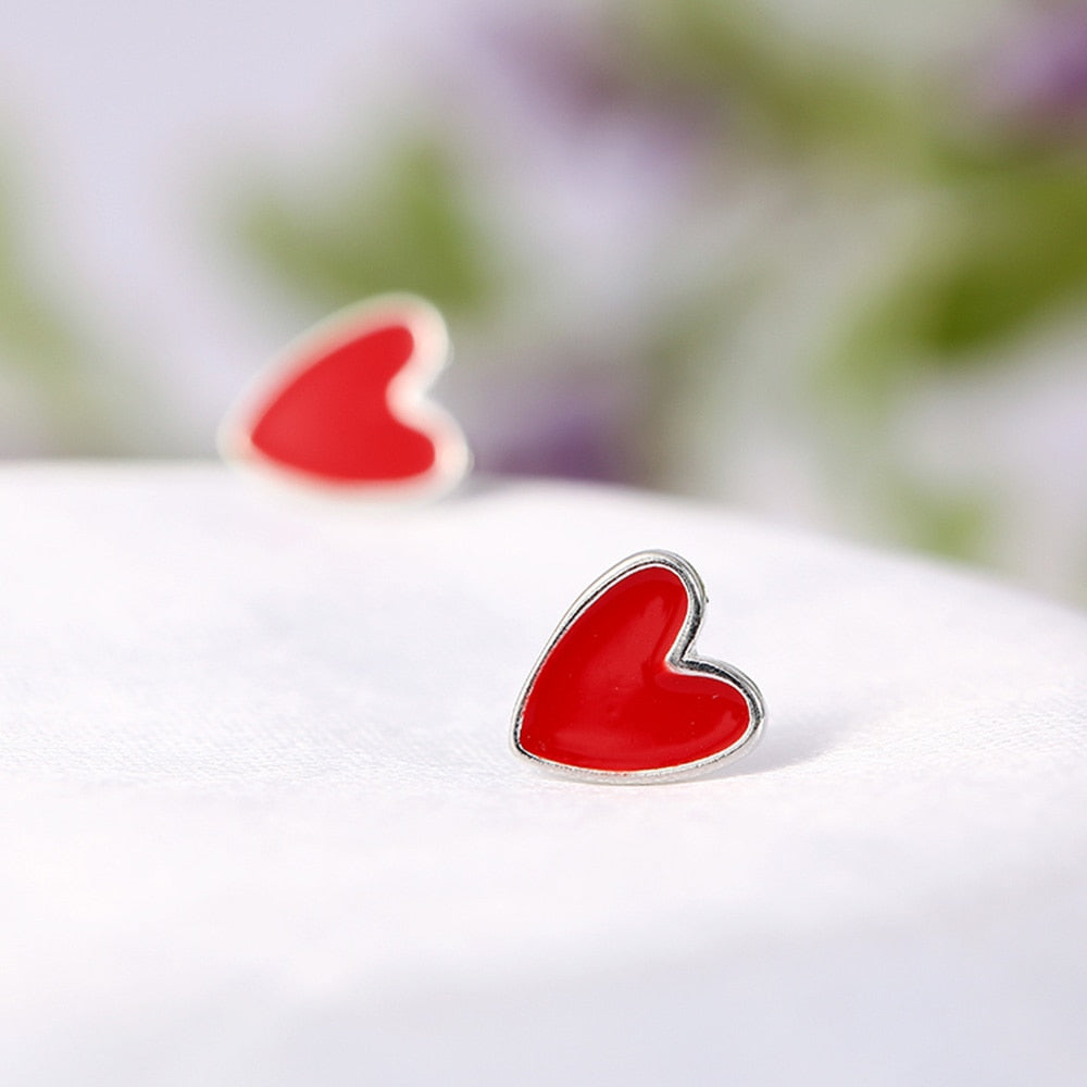 925 Sterling Silver 7 Days Red Heart Stud Earrings Gift Set  - Zaida Fashions