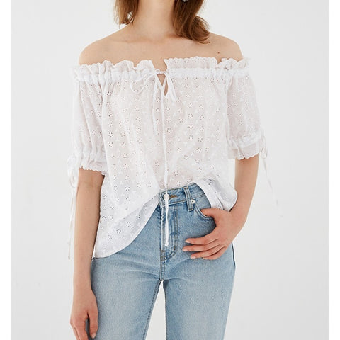 Summer White Embroidered Cotton Blouse  - Zaida Fashions