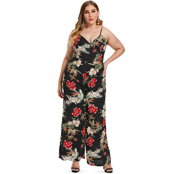 Plus Size Floral Summer Sleeveless Long Jumpsuits  - Zaida Fashions