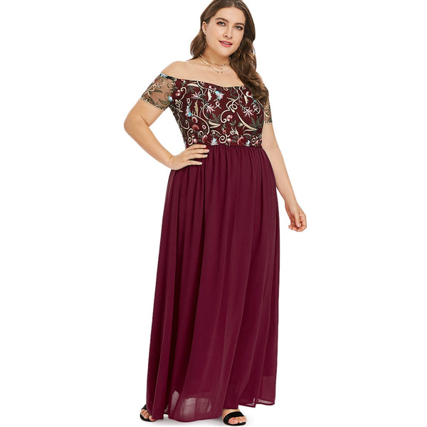 Plus Size Off The Shoulder Floral Embroidery Chiffon Maxi Party Dress  - Zaida Fashions