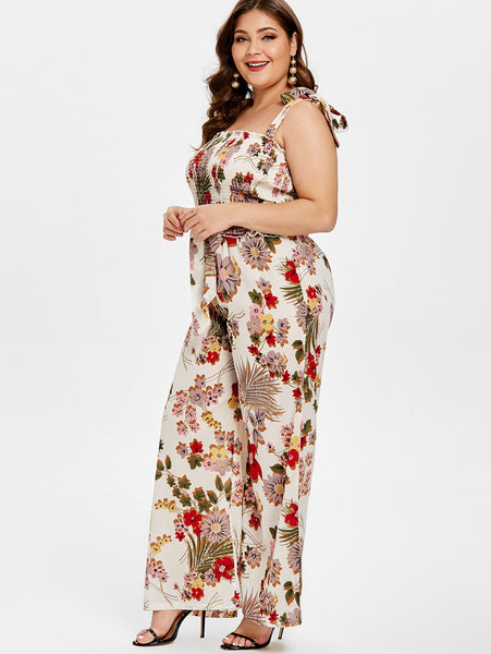Plus Size Floral Sleeveless Casual Jumpsuits  - Zaida Fashions