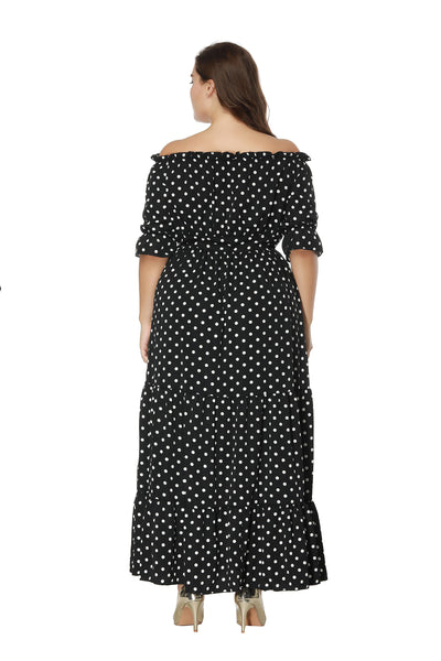 Plus Size Off Shoulder Black Polka Maxi Dress  - Zaida Fashions