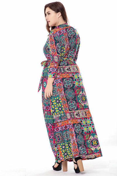 Plus Size Long Sleeve Wrap Maxi Dress  - Zaida Fashions