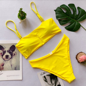 Yellow Sheer Two-Piece Swimwear with V-Shape Hem  - Zaida Fashions