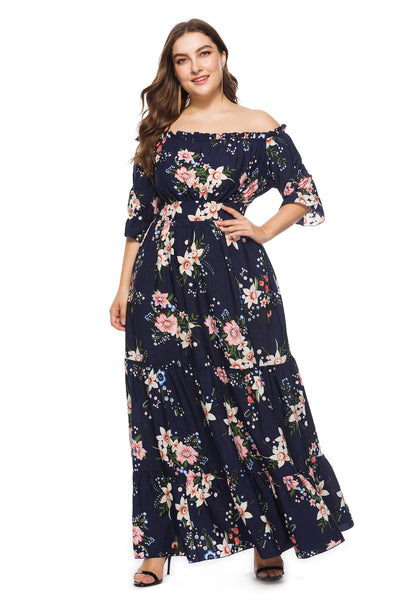 Plus Size Off Shoulder Blue  Maxi Dress  - Zaida Fashions