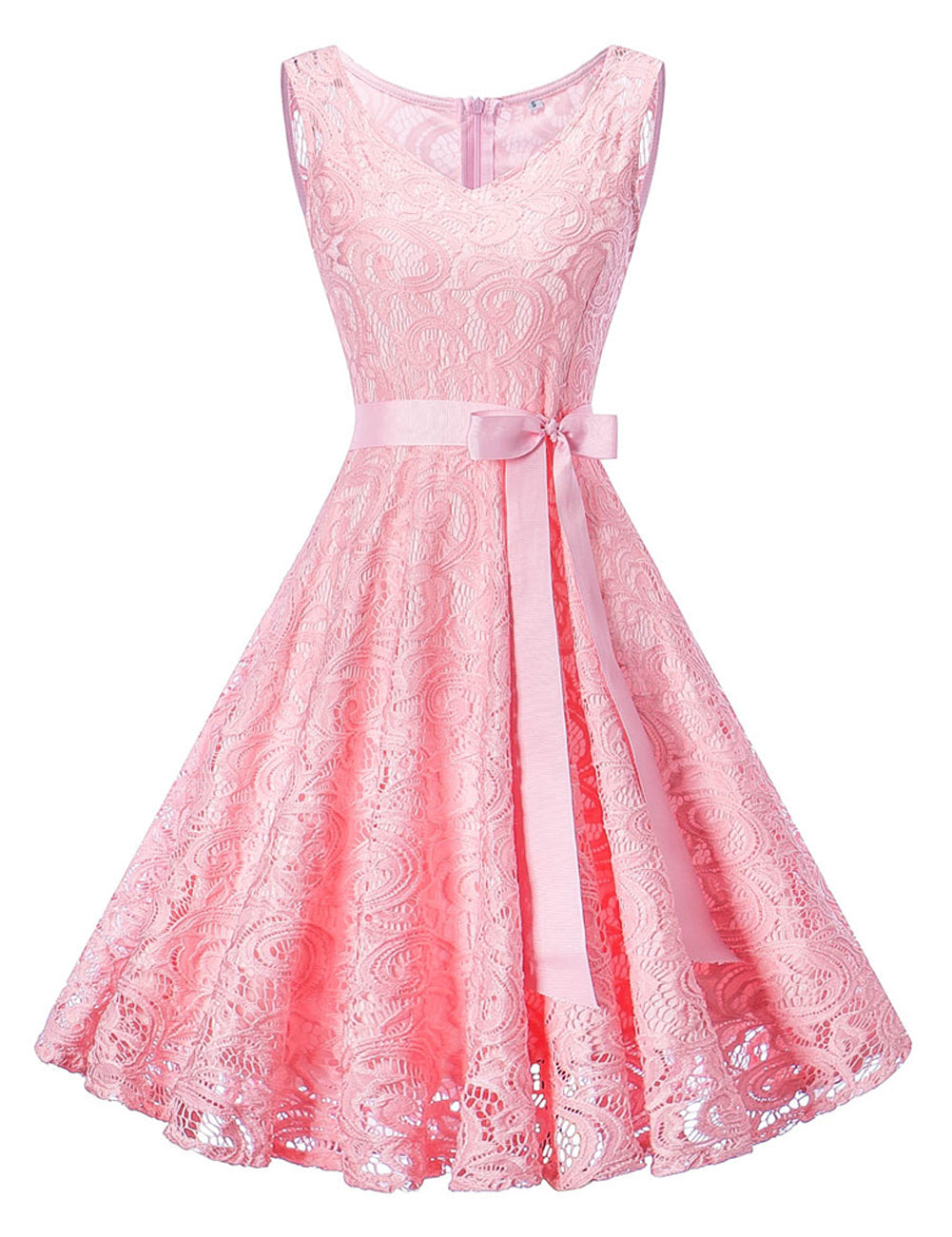 Pink Sleeveless Large Skater Dress Waist Band Women's Fashion  - Zaida Fashions