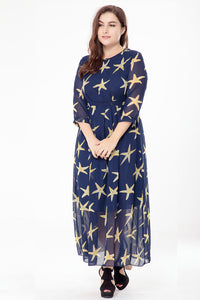 Plus Size Blue Long Chiffon Dress  - Zaida Fashions