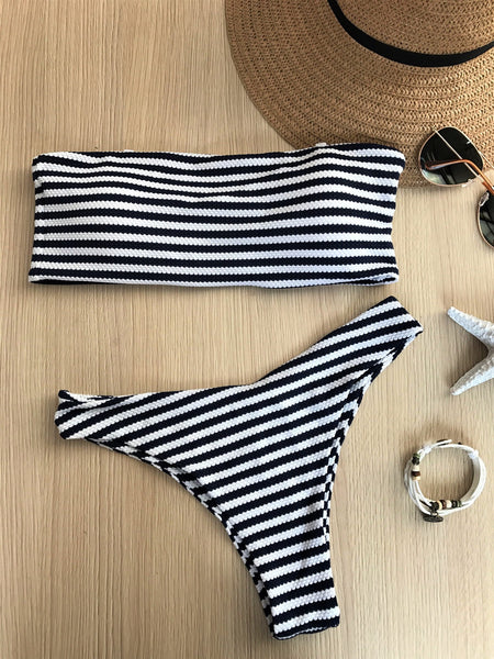 White and Black Stripes Swimwear  - Zaida Fashions