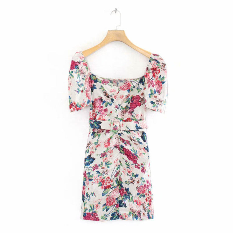 Floral Short Sleeve Mini Dress XS to L