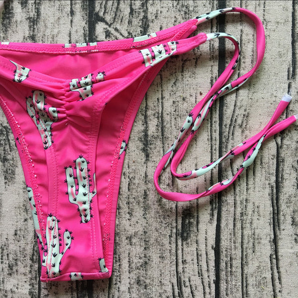 Pink Cactus  Bikini Top and Side-Tied Bottom  - Zaida Fashions