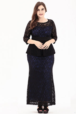 Plus Size O-Neck Long Black Puplum Lace Dress  - Zaida Fashions