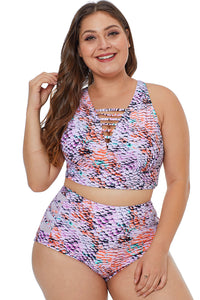 Plus Size Multicolored Two Piece Swimwear  - Zaida Fashions