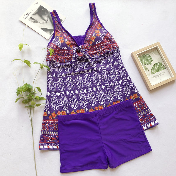 Purple Retro One-Piece Swimsuit  - Zaida Fashions