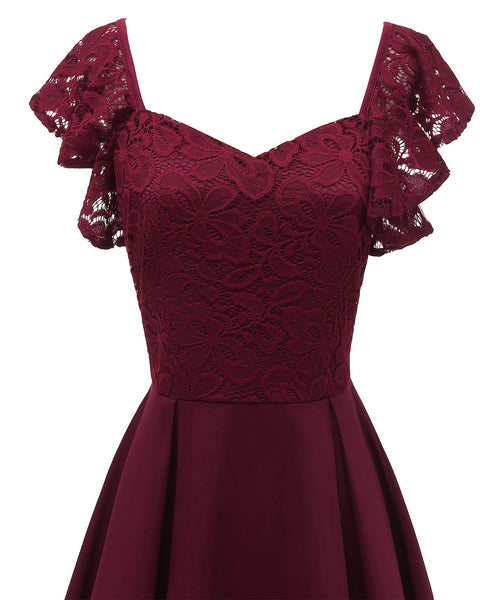 Occassional Lace Upper Pleated Skater Dress  - Zaida Fashions