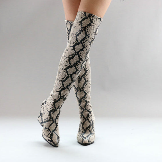 Snake Print Over The Knee Square Heel Women Long Boots Size 3 to 12  - Zaida Fashions